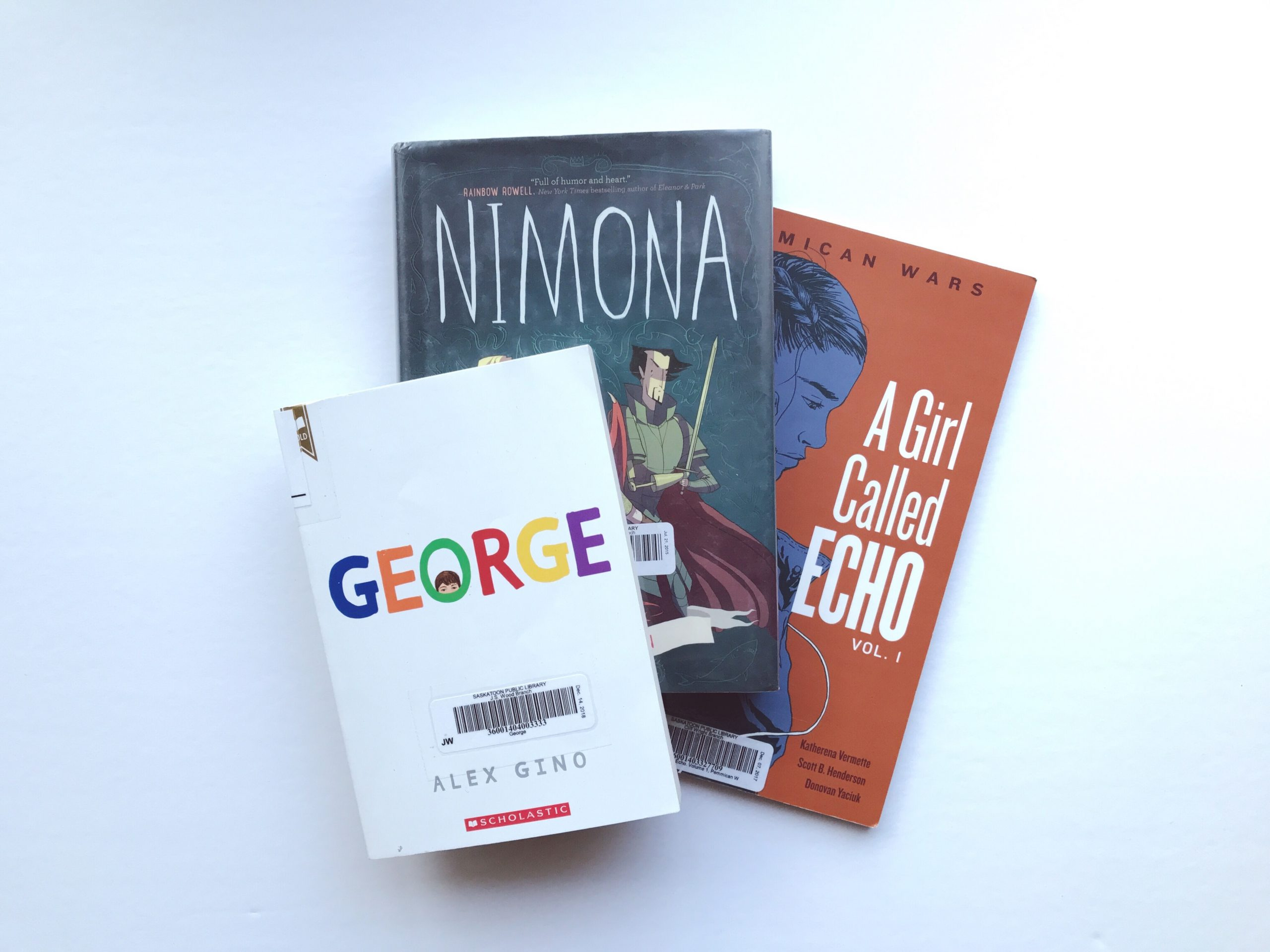 Book Covers: George, Nimona, A Girl Called Echo, and This Is Kind Of An Epic Love Story