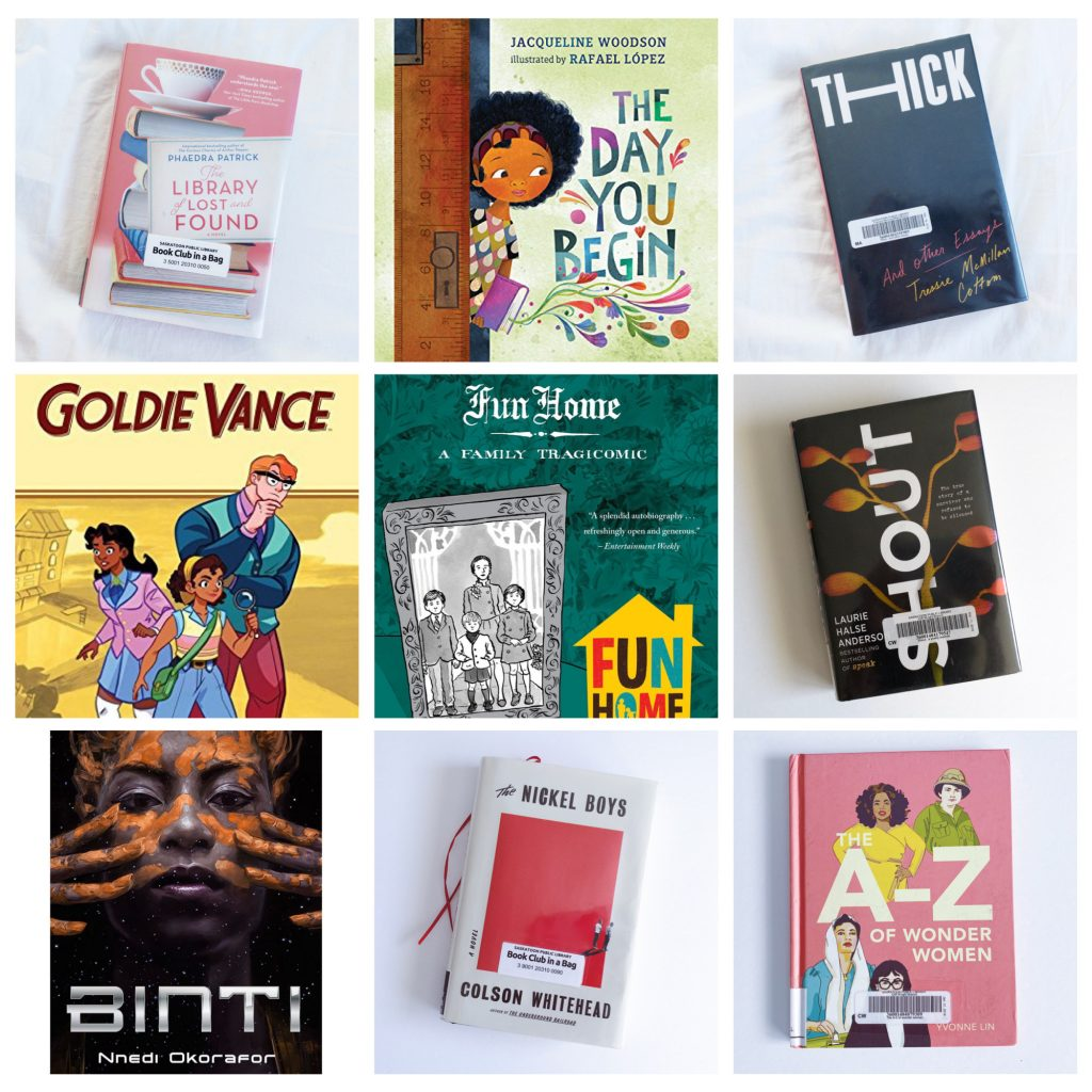 Book Covers: The Library of Lost and Found, The Day You Begin, Thick, Goldie Vance Vol. 1, Fun Home, Shout, Binti, The Nickel Boys
